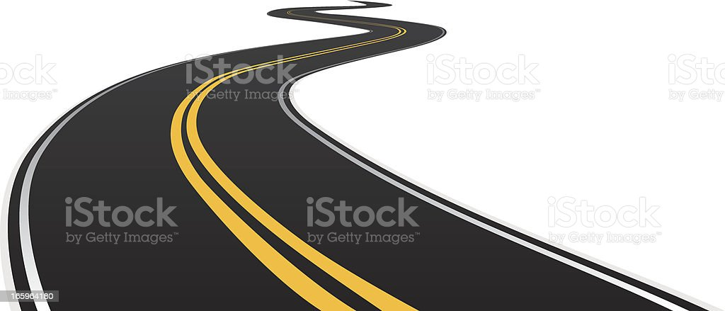 road curving into distance vector art illustration