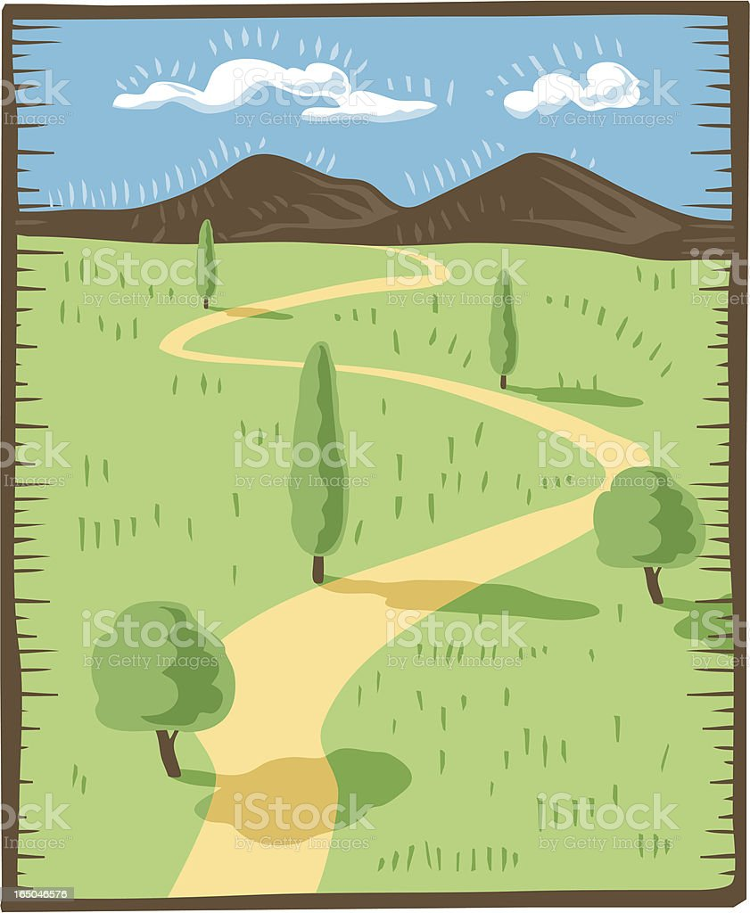 Road in a countryside vector art illustration