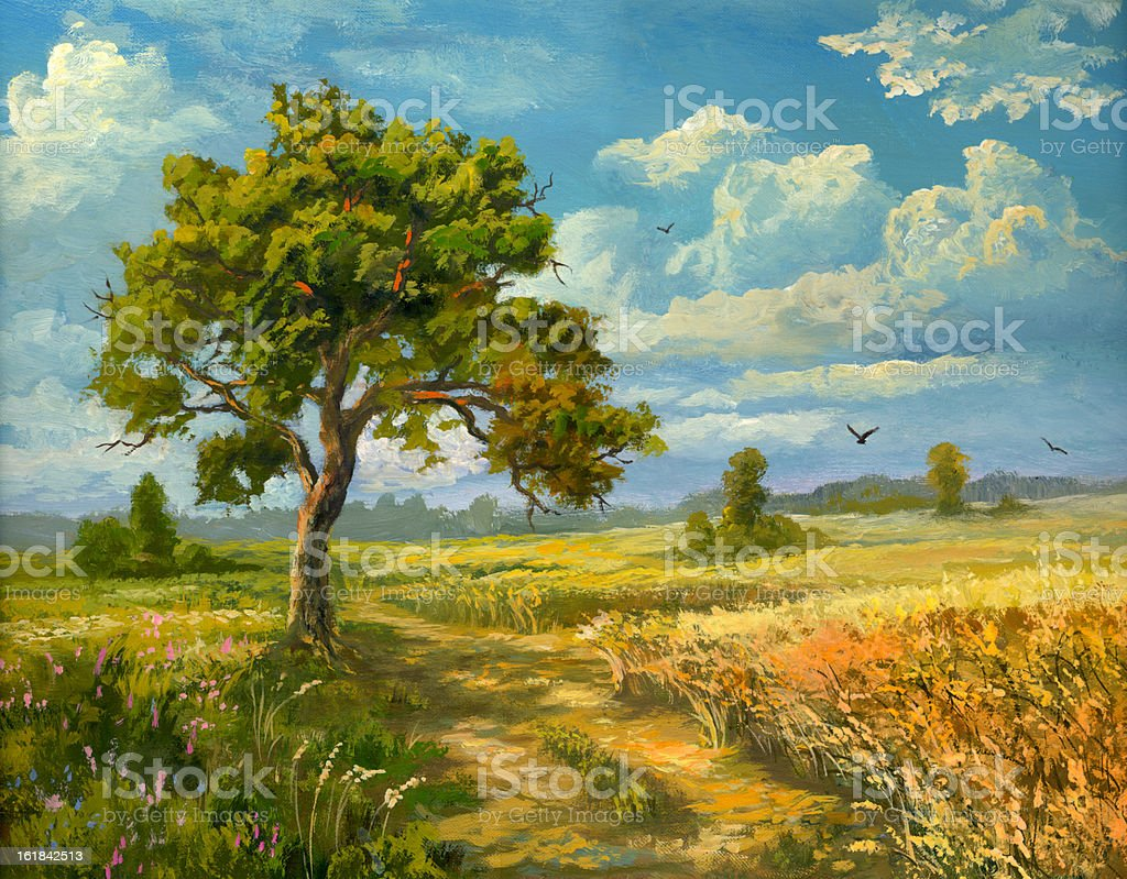 Road in a field royalty-free stock vector art