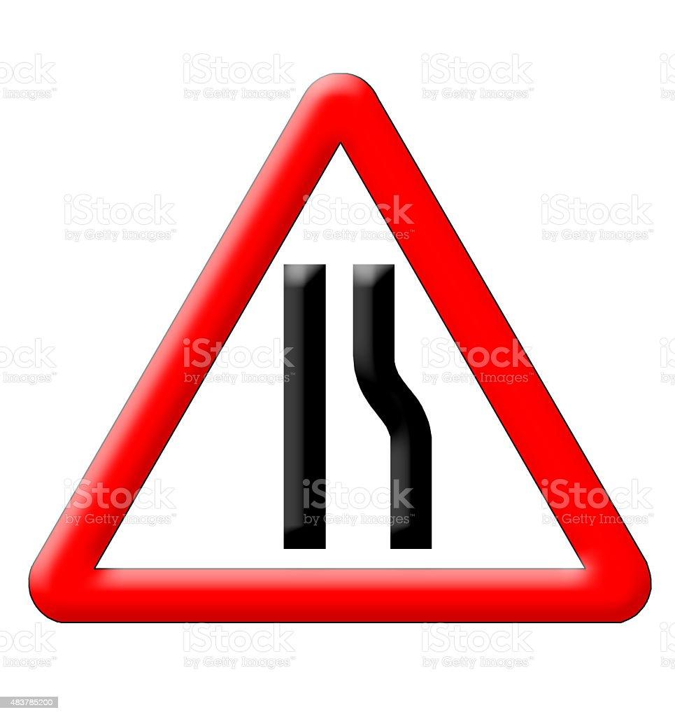 Road narrows traffic sign vector art illustration
