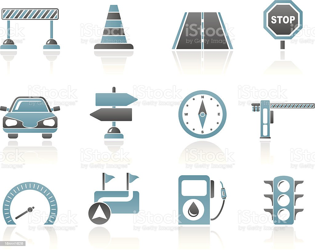 Road, navigation and traffic icons royalty-free stock vector art