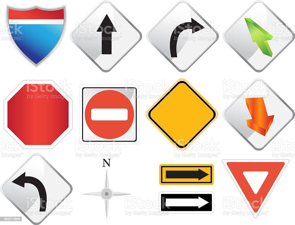 Road Navigation Icons vector art illustration
