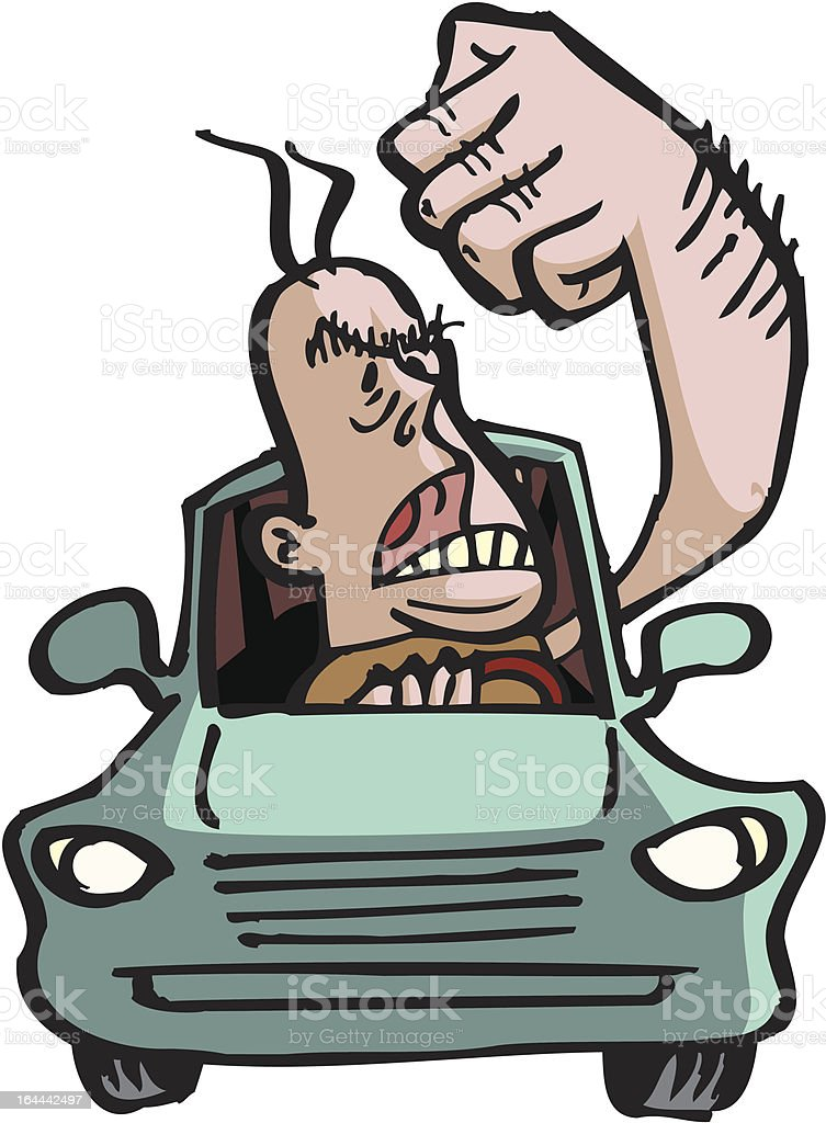 Road Rage Man vector art illustration