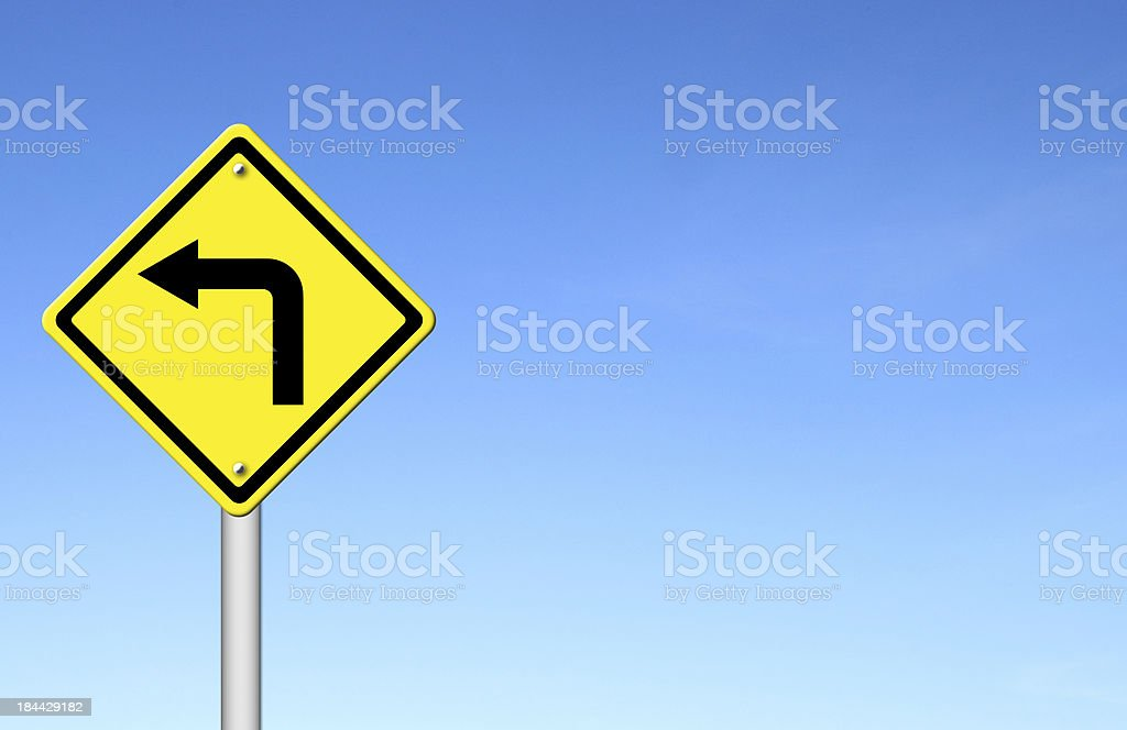 Road Sign - Left Turn Warning with blue sky royalty-free stock vector art