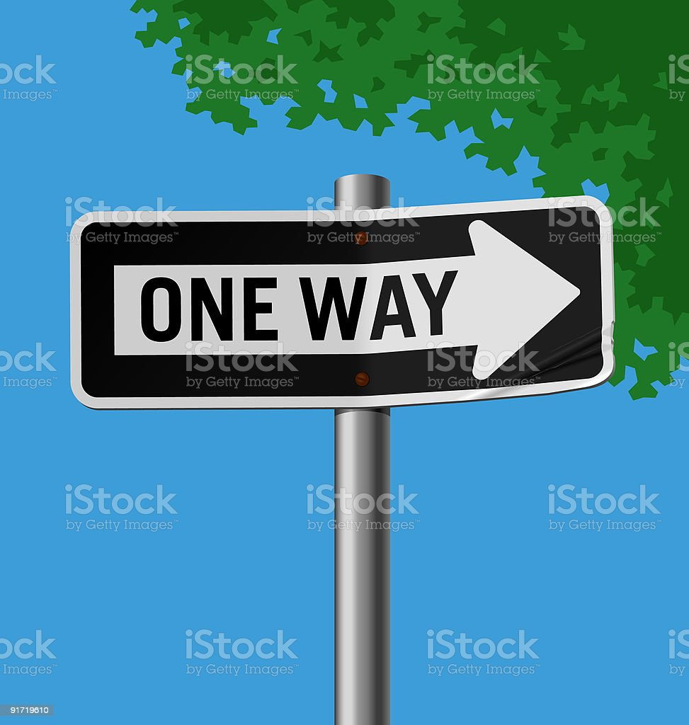Road sign; One Way vector art illustration