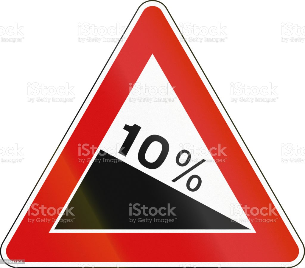 Road sign used in Italy - dangerous descent stock photo