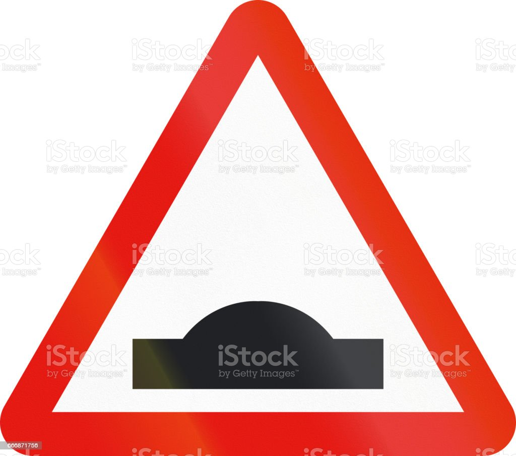 Road sign used in Spain - Speed bump stock photo