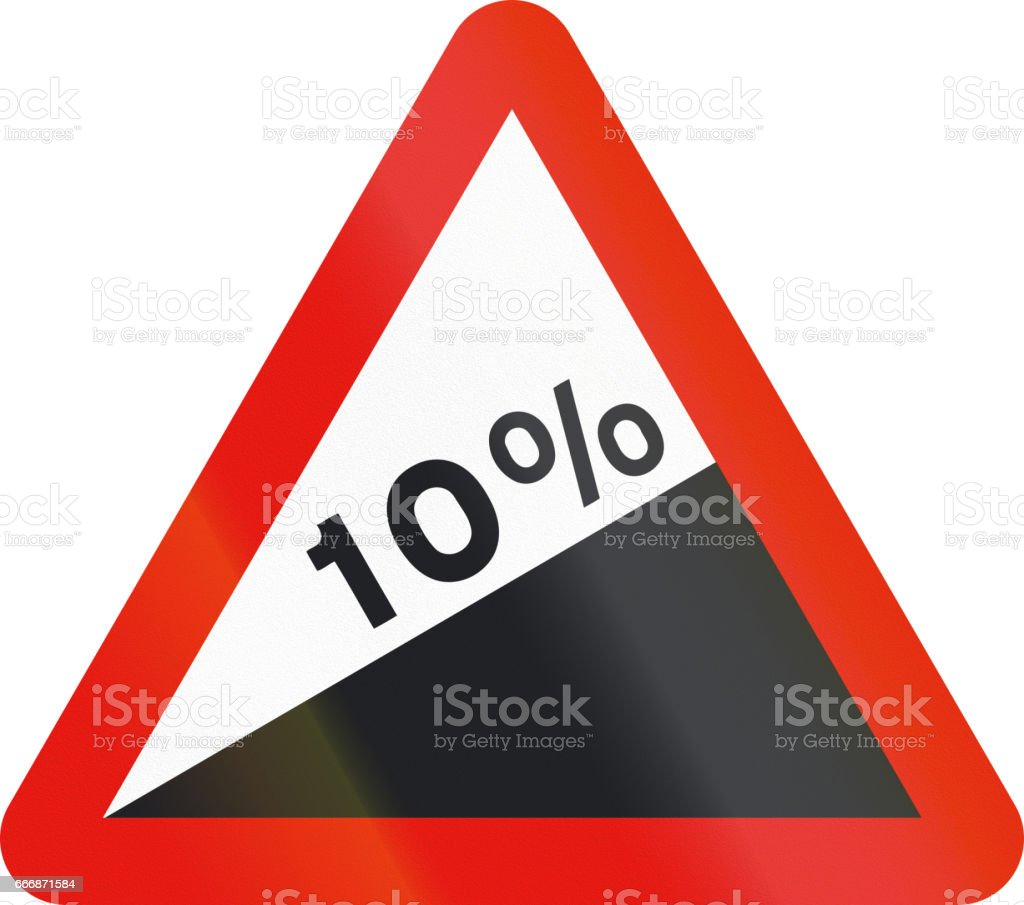 Road sign used in Spain - Steep ascent stock photo