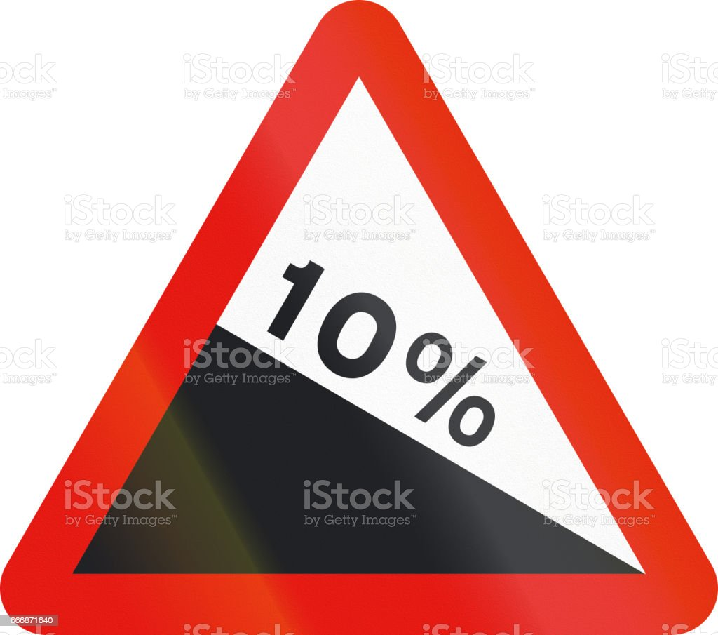 Road sign used in Spain - Steep descent stock photo
