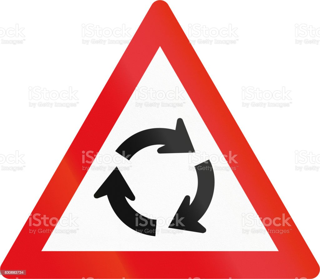 Road sign used in the African country of Botswana - Roundabout ahead vector art illustration