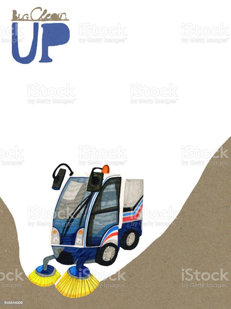 Road sweeper drawing vector art illustration