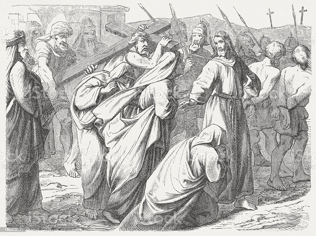 Road to Calvary (Luke 23, 26-28), wood engraving, published 1877 royalty-free stock vector art