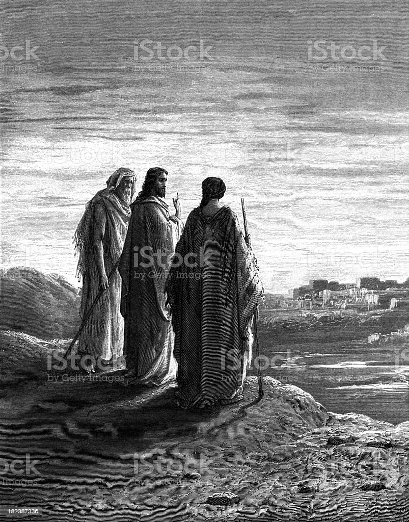 road to Emmaus vector art illustration