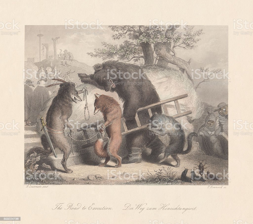 Road to Execution. Scene from 'Reynard the Fox', published c.1855 vector art illustration