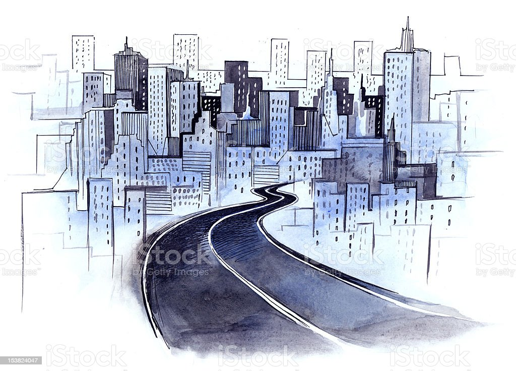 road to the city vector art illustration