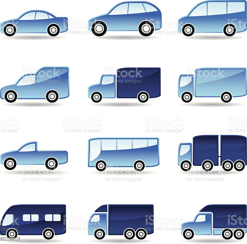 Road transport icons set royalty-free stock vector art