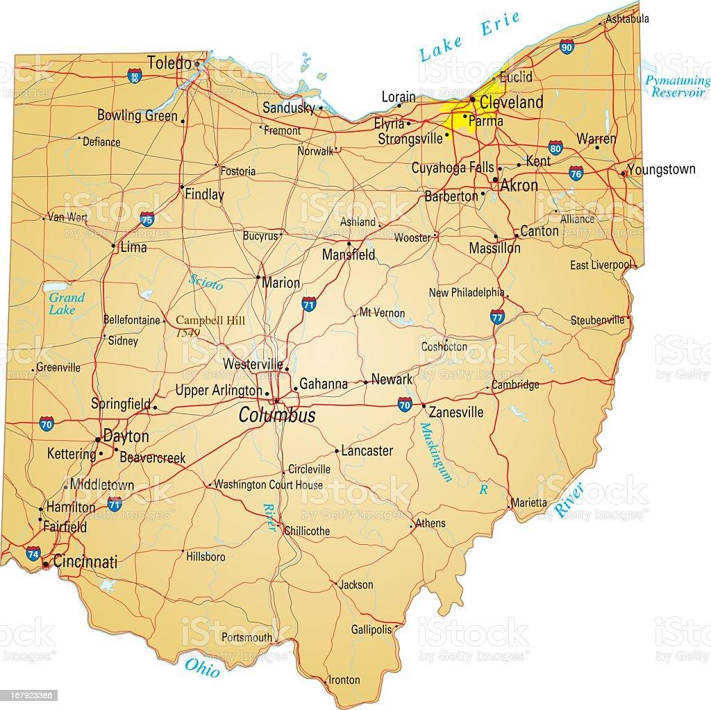 Roadmap of Ohio on white background vector art illustration
