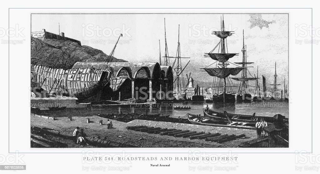 Roadsteads and Harbor Equipment Engraving, 1851 vector art illustration