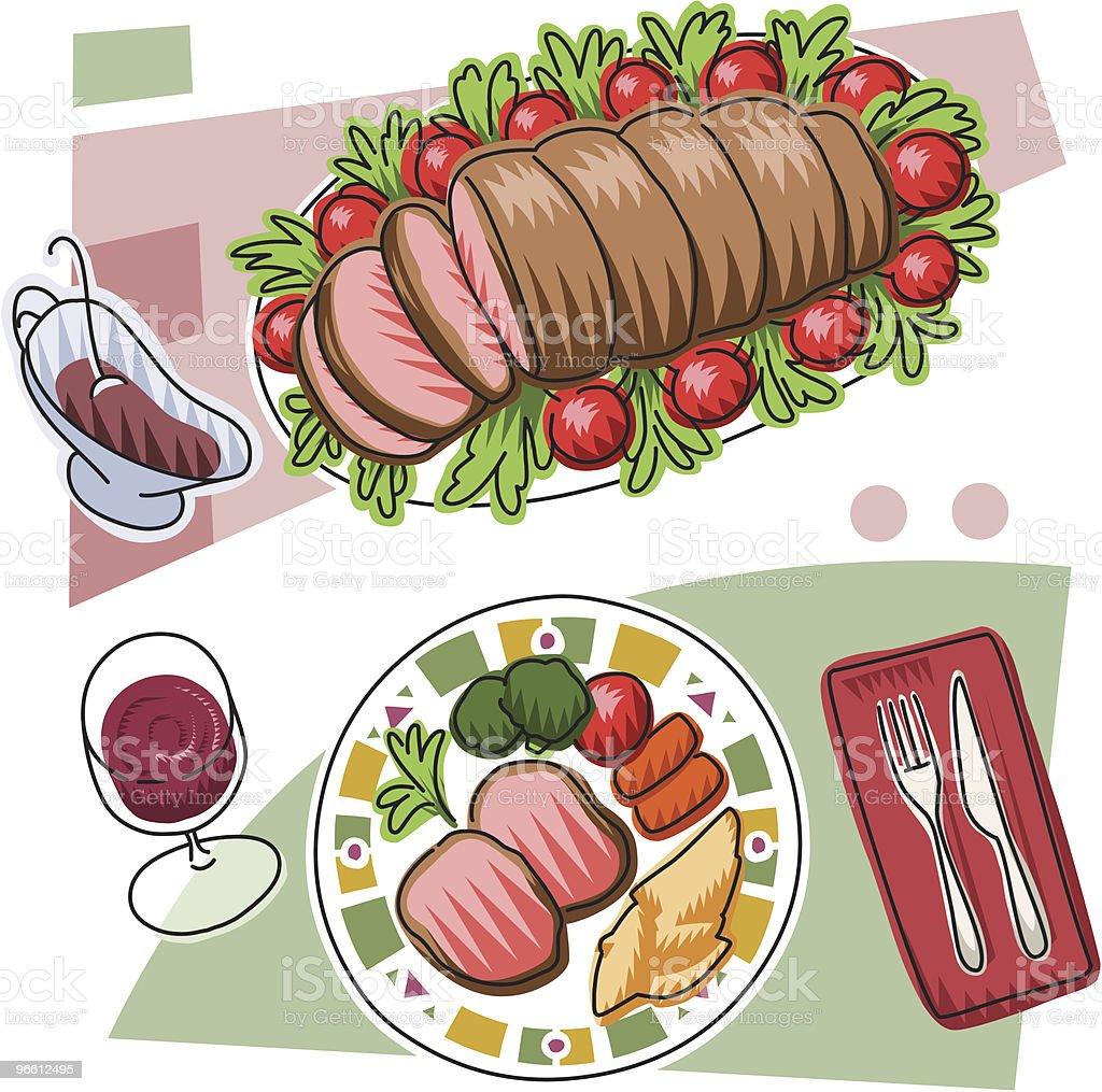 Roast beef royalty-free stock vector art