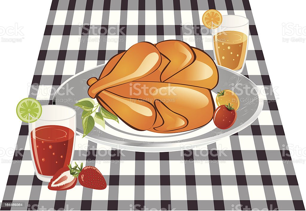 roast chicken and drink royalty-free stock vector art