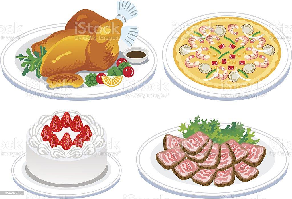 Roast turkey and  delicious food vector art illustration