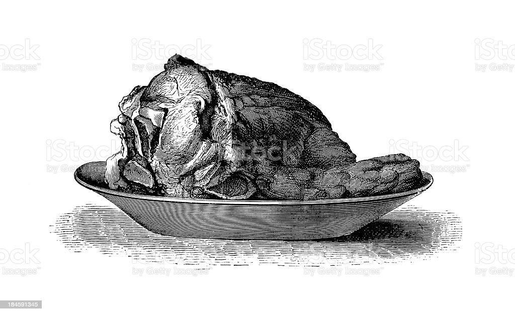 Roast veal | Antique Culinary Illustrations vector art illustration