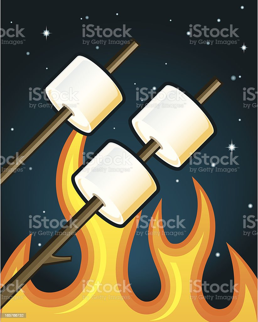 Roasting Marshmallows vector art illustration