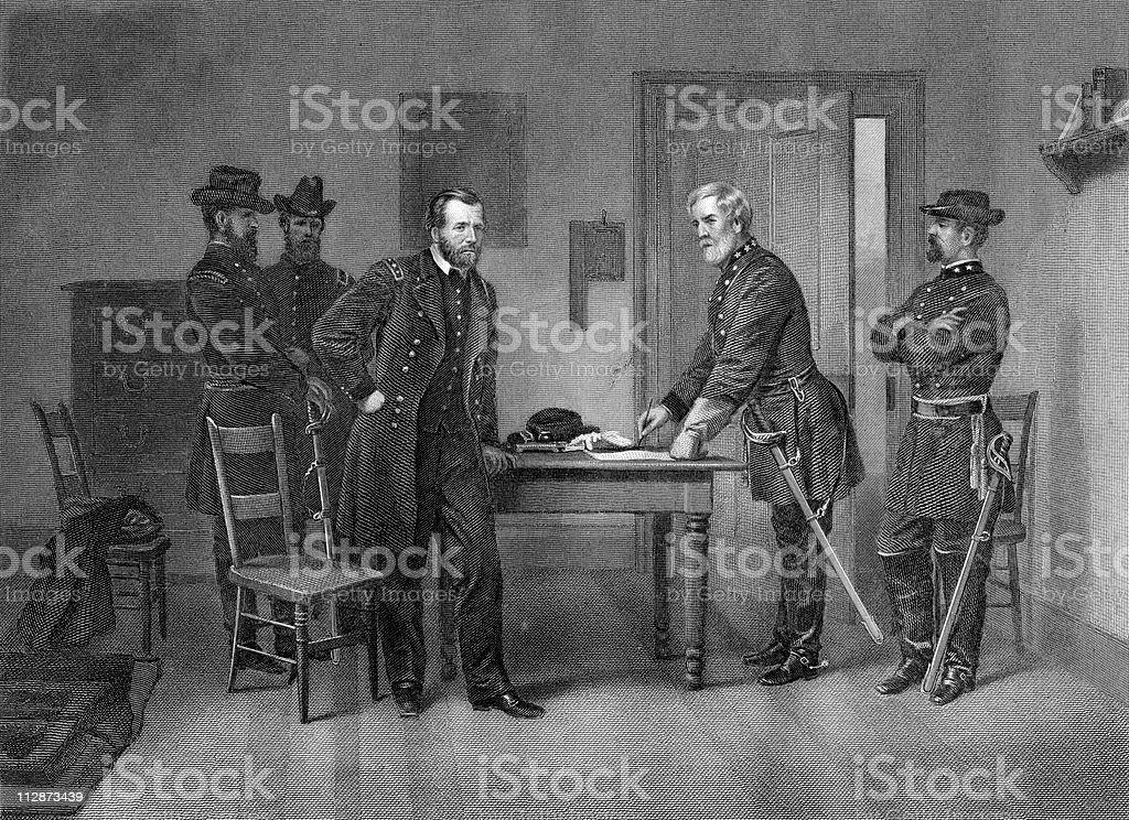 Robert E. Lee Surrenders to General U.S. Grant royalty-free stock vector art