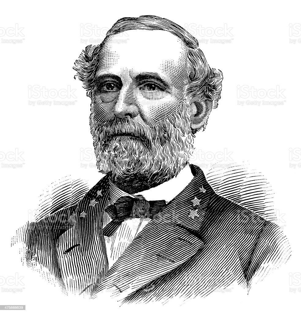 Robert E. Lee,Commander at confederate army of Northern Virginia. vector art illustration