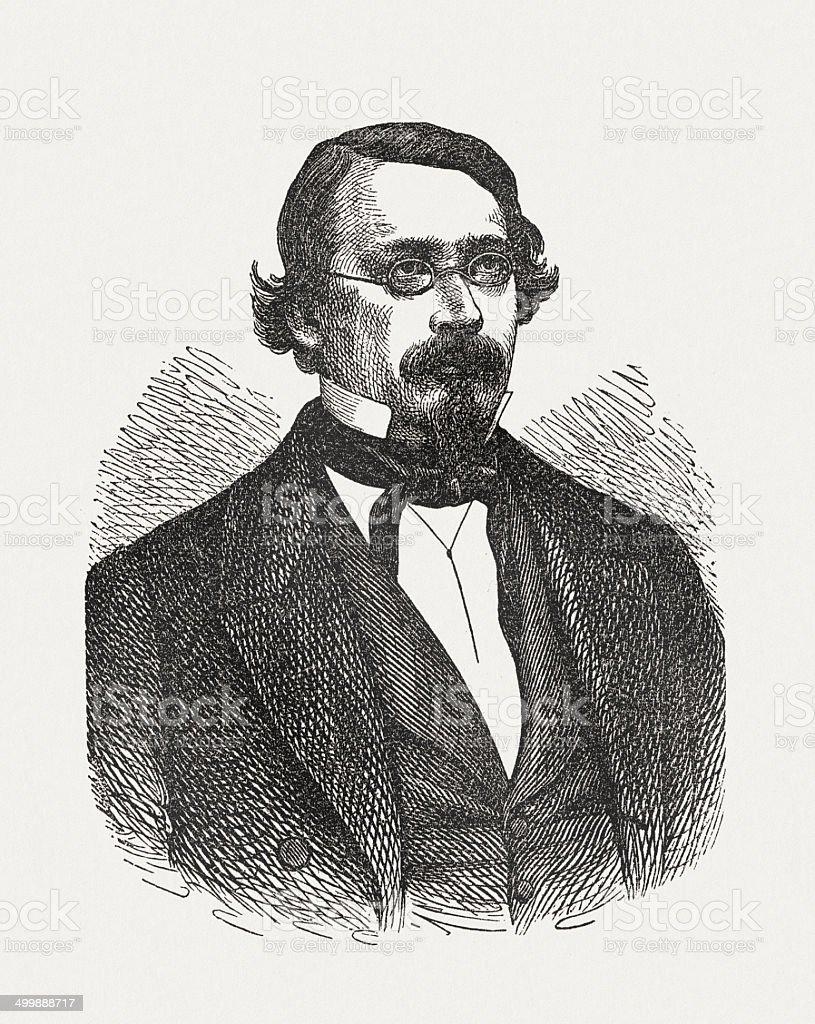 Robert Eduard Prutz (1816-1872), German writer, wood engraving, published 1871 royalty-free stock vector art