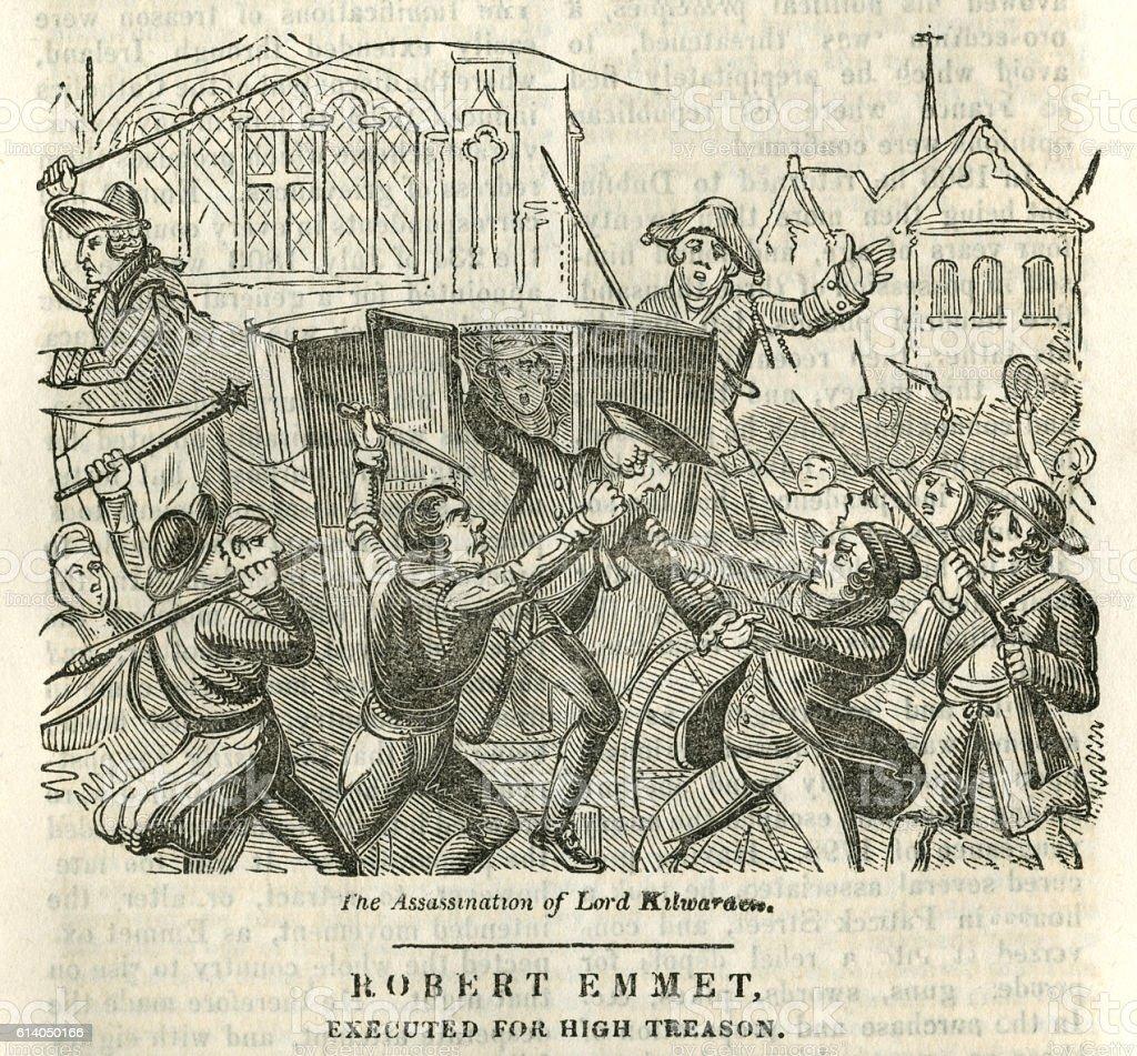 Robert Emmet, executed for high treason vector art illustration