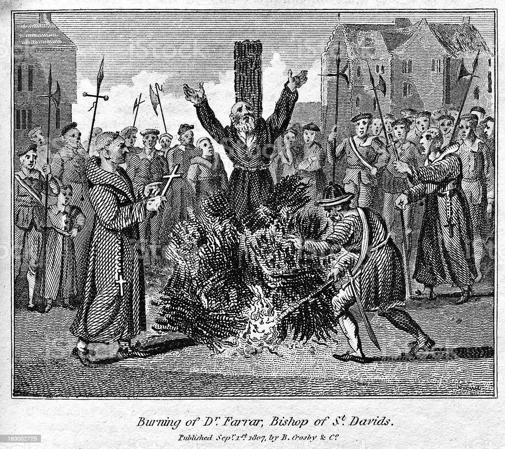 Robert Ferrar burned at the stake vector art illustration