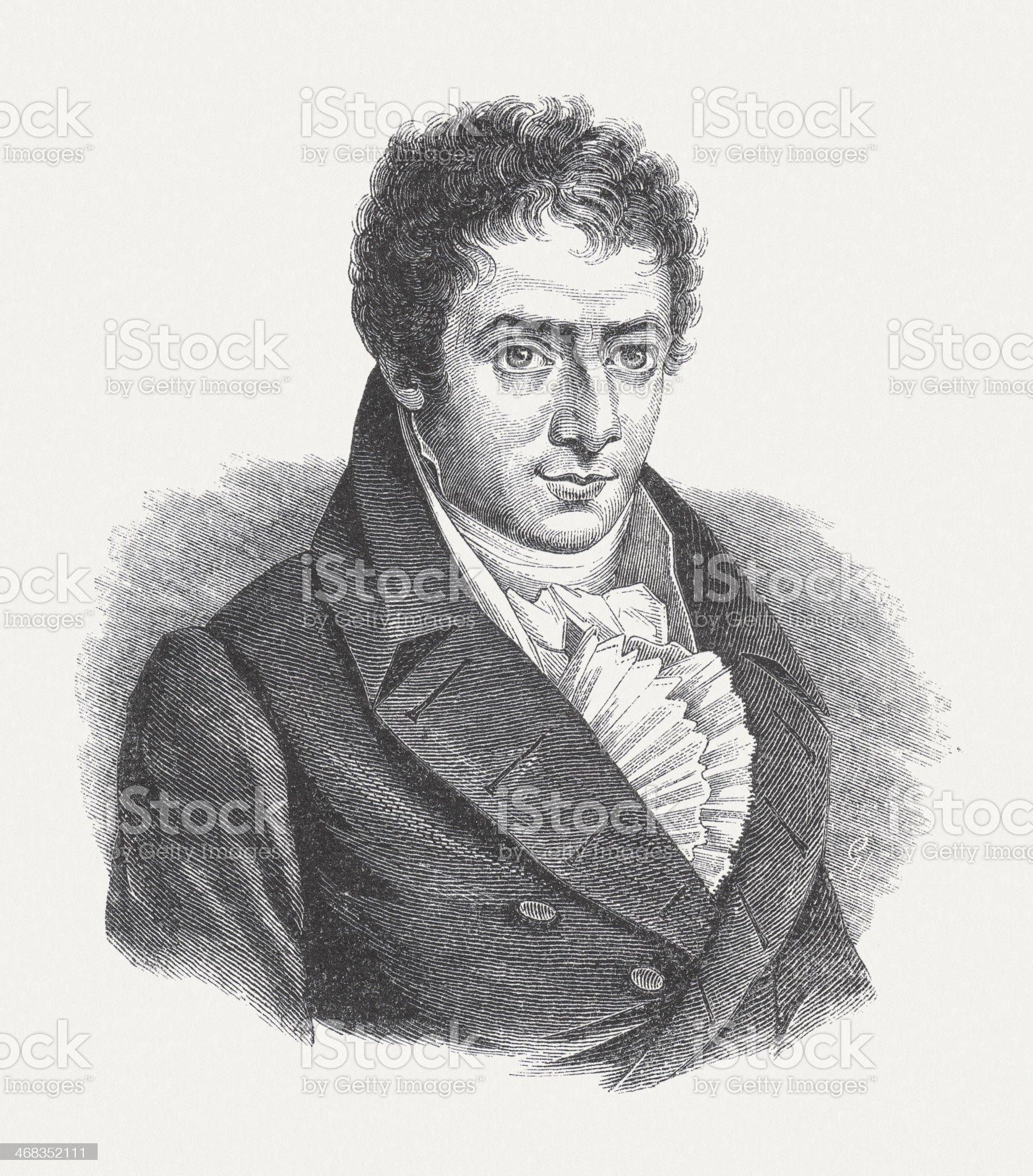 Robert Fulton (1765-1815), American engineer, wood engraving, published in 1851 royalty-free stock vector art