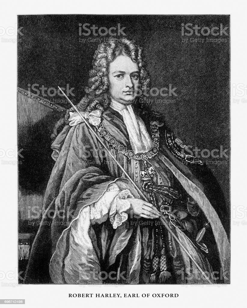 Robert Harley, Earl of Oxford, English Victorian Engraving, 1887 vector art illustration