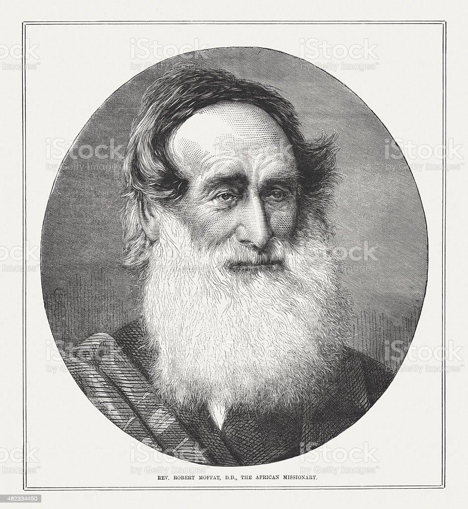 Robert Moffat (1795 - 1883), Scottish missionary, published in 1873 vector art illustration