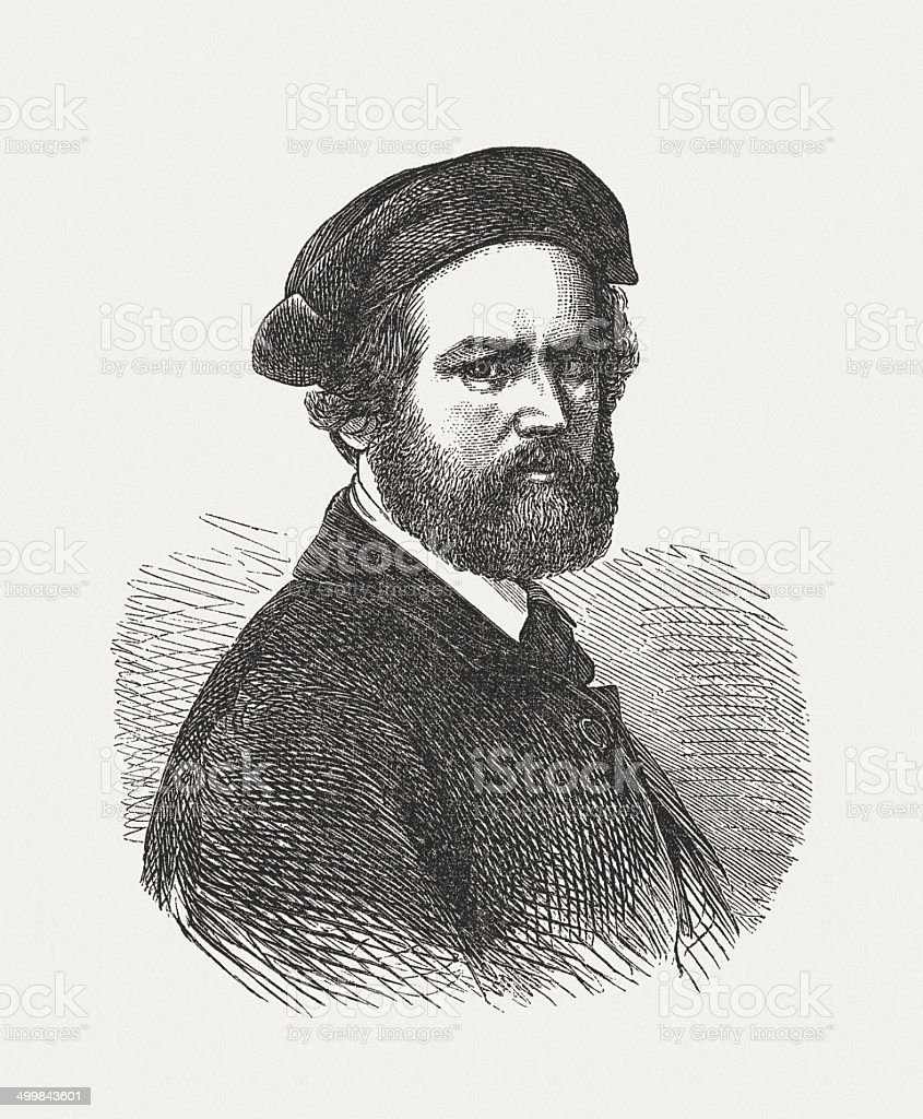 Robert Reinick (1805-1852), German painter and poet, published in 1871 royalty-free stock vector art