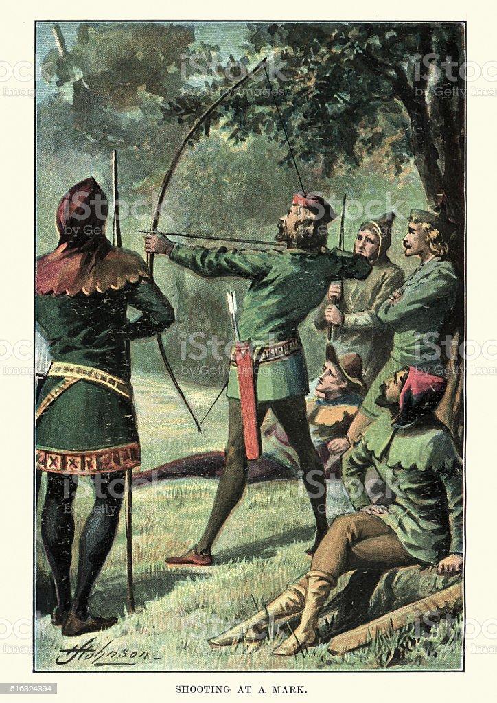 Robin Hood and his Merry Men vector art illustration