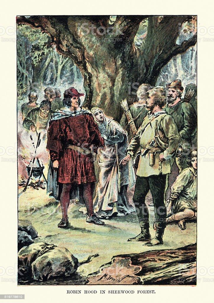 Robin Hood in Sherwood Forest vector art illustration
