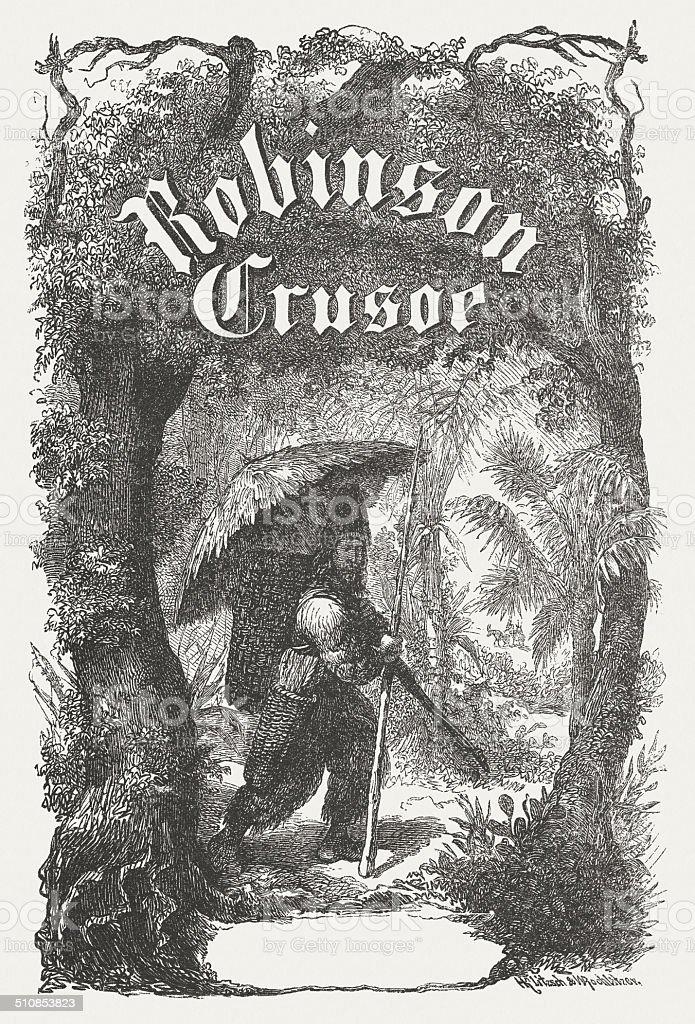 Robinson Crosoe vector art illustration
