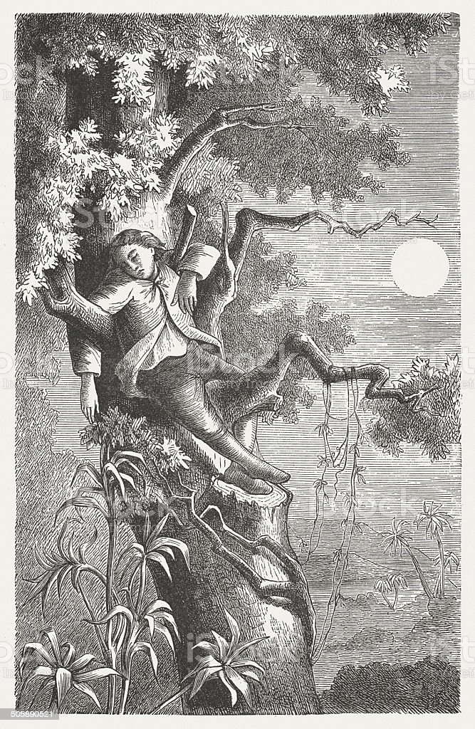 Robinson Crusoe vector art illustration