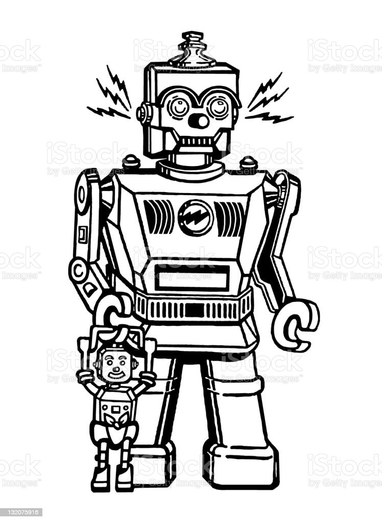 Robot and Baby Robot royalty-free stock vector art