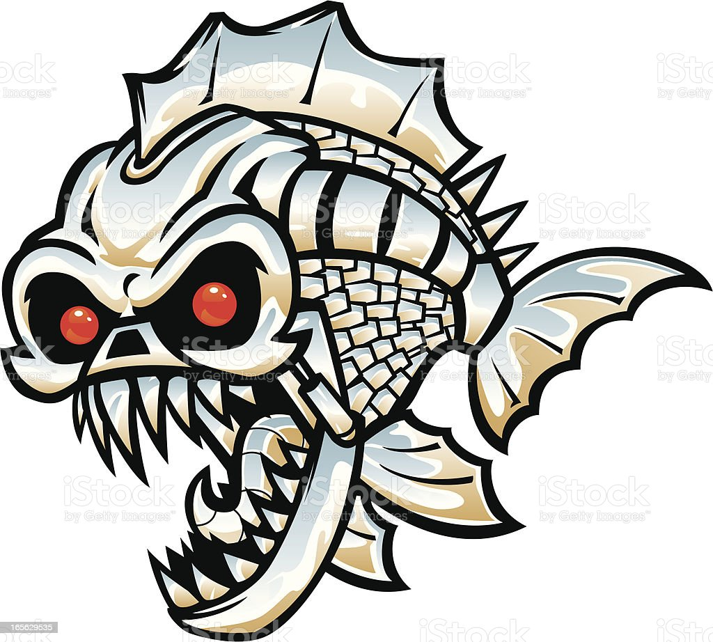 robot fish vector art illustration