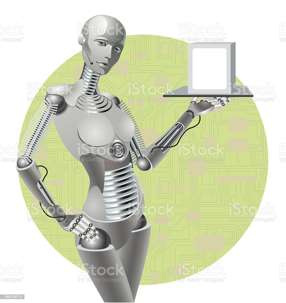 robot on the presentation royalty-free stock vector art