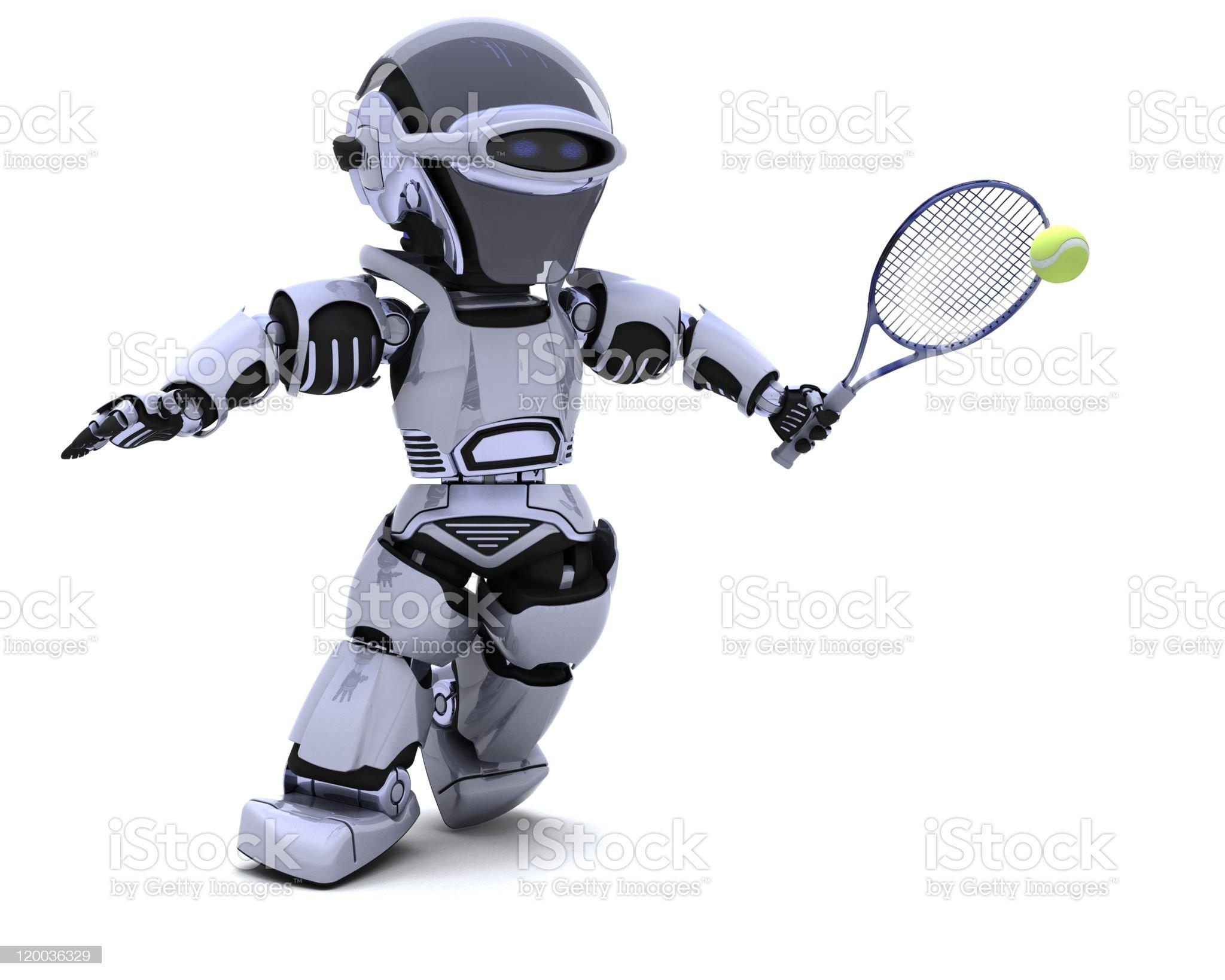 Robot playing tennis royalty-free stock vector art