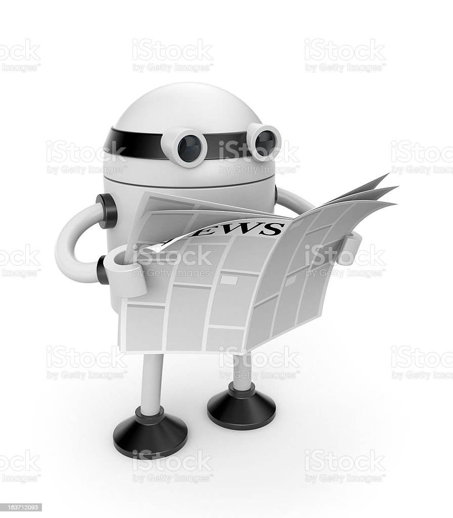 Robot read newspaper royalty-free stock vector art