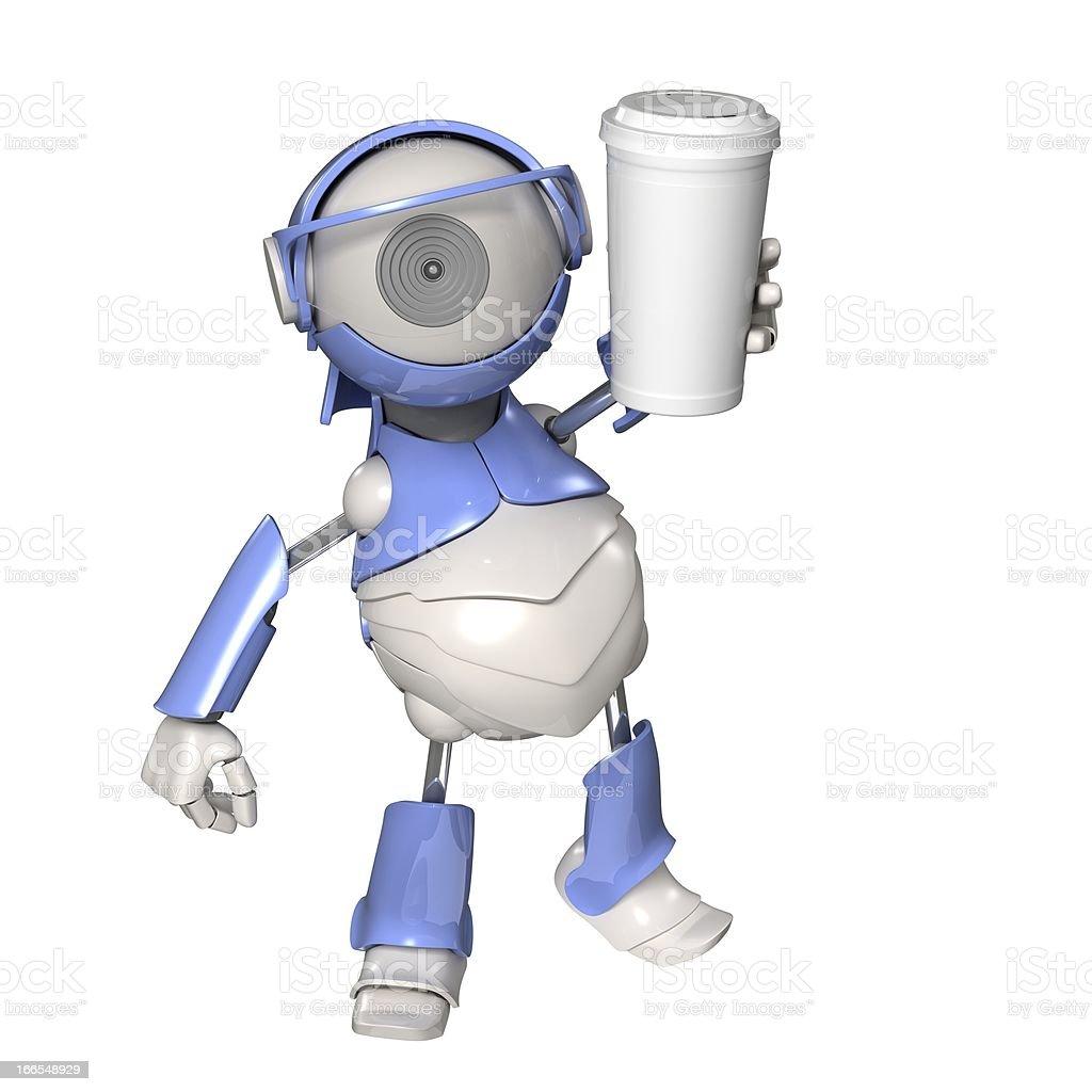 Robot sends a cup vector art illustration