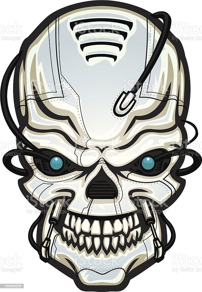 robot skull vector art illustration