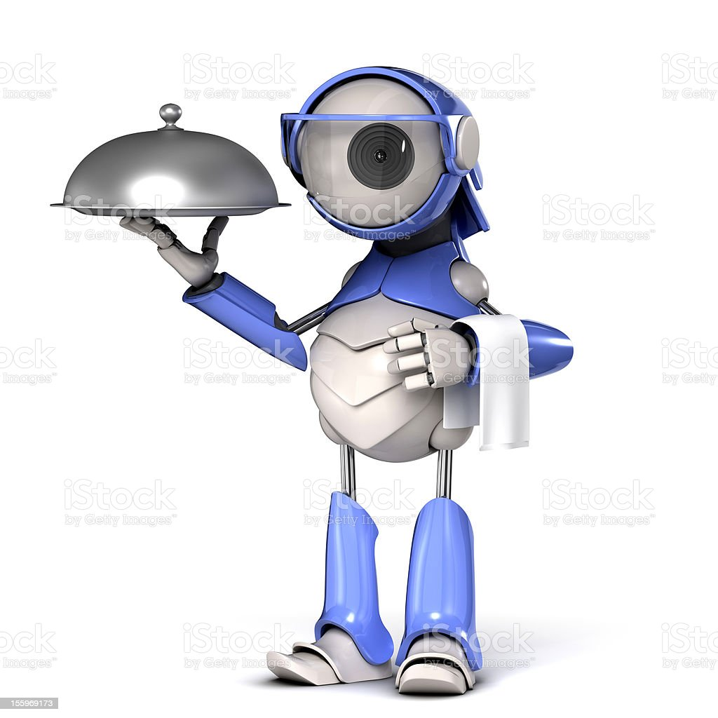 Robot waiter royalty-free stock vector art