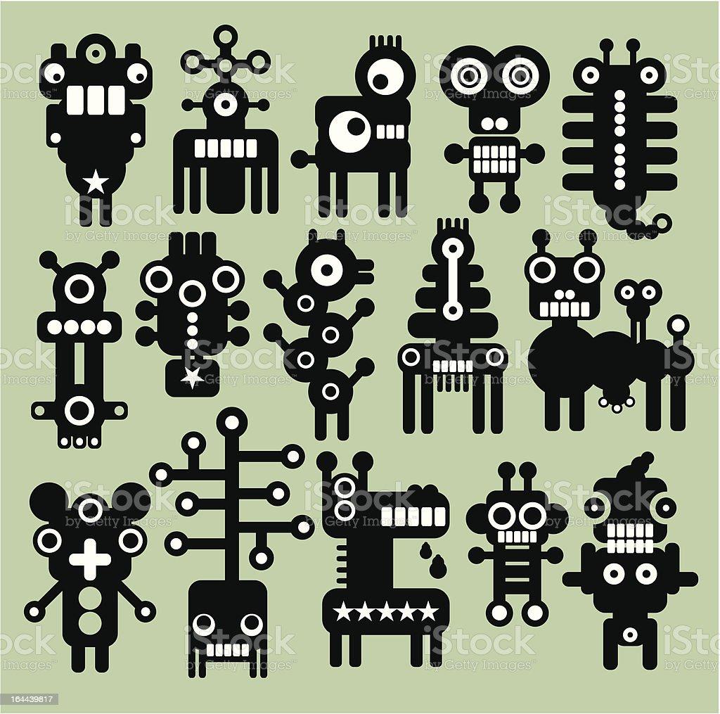 Robots, monsters, aliens collection. vector art illustration
