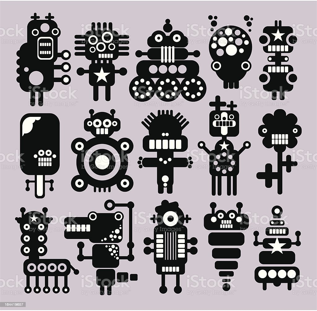 Robots, monsters, aliens. royalty-free stock vector art